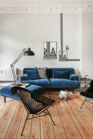 blue living room modern floor lamp
