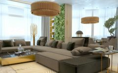 Marble and Golden Living Room Luxury Lighting Designs