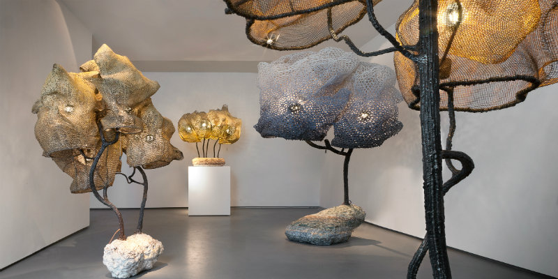 sculpture lamps Nacho Carbonell fills Paris Gallery with Amazing Sculpture Lamps Nacho Carbonell fills Paris gallery with giant cocooned lamps