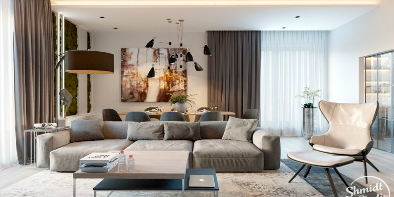 lighting design Modern Open Plan Living Room with Stunning Lighting Designs in Minsk Modern Open Living Room with Stunning Lighting Designs in Minsk FEAT 1